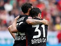 Leverkusen, Germany, 1. Football- BL,  match day 30,<br />Bayer Leverkusen - Eintracht Frankfurt 4-114 .04.2018  in Bay-Arena in Leverkusen<br />Karim BELLARABI (LEV) - umarmt Kevin VOLLAND (LEV)  -   dessen Treffer  4-1<br /><br /> *** Local Caption *** © pixathlon<br /> Contact: +49-40-22 63 02 60 , info@pixathlon.de