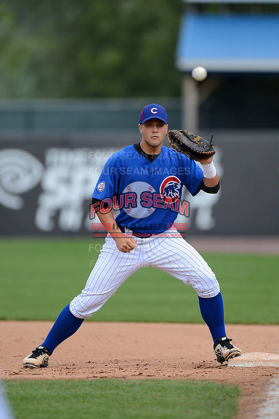 First baseman Joseph Matijevic (38) of Norwin High School in North Huntington, Pennsylvania playing for the Chicago Cubs scout team during the East Coast Pro Showcase on August 2, 2013 at NBT Bank Stadium in Syracuse, New York.  (Mike Janes/Four Seam Images)