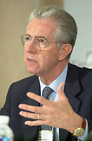 June 28, 2002, Montreal, Quebec, CANADA<br /> <br /> Mario Monti, European Commissioner for Competition ,<br />  adress the medias after taking part in a forum on International Mergers and Acquisitions, at the 8 th Conference of Montreal, June 28, 2002 in Montreal, CANADA<br /> <br /> Mandatory credit : Photo by Pierre Roussel - Images Distribution<br /> (c) : 2002,Pierre Roussel