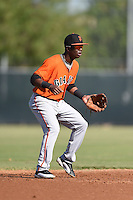 San Francisco Giants shortstop Kelvin Beltre (17) during an Instructional League game against the Milwaukee Brewers on October 10, 2014 at Maryvale Baseball Park Training Complex in Phoenix, Arizona.  (Mike Janes/Four Seam Images)