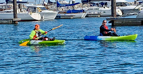 Kayakers out and about in Dun Laoghaire Harbour