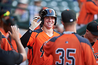 AZL Giants Orange Connor Cannon (13) is congratulated by teammates after hitting a home run during an Arizona League game against the AZL Cubs 1 on July 10, 2019 at Sloan Park in Mesa, Arizona. The AZL Giants Orange defeated the AZL Cubs 1 13-8. (Zachary Lucy/Four Seam Images)