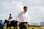 Trainer Graham Motion heads to the winners circle after Howe Great wins the Palm Beach Stakes(G3T) at Gulfstream Park, Hallandale Beach Florida. 03-11-2012