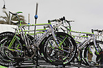 Cannondale bikes on tp of the team car as the race restarts in Cogoleto after heavy snow forces the race organizers to abandon part of the race over Passo del Turchino during the 104th edition of the Milan-San Remo cycle race, 17th March 2013 (Photo by Eoin Clarke 2013)