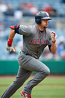 Lehigh Valley IronPigs right fielder Dylan Cozens (31) runs to first base during a game against the Syracuse Chiefs on May 20, 2018 at NBT Bank Stadium in Syracuse, New York.  Lehigh Valley defeated Syracuse 5-2.  (Mike Janes/Four Seam Images)