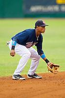 Elizabethton Twins shortstop Jorge Polanco #5 on defense against the Bluefield Blue Jays at Joe O'Brien Field on July 14, 2012 in Elizabethton, Tennessee.  The Twins defeated the Blue Jays 4-0.  (Brian Westerholt/Four Seam Images)