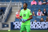 KANSASCITY, KS - JULY 11: Meslien Gilles #23 of Martinique during a game between Canada and Martinique at Children's Mercy Park on July 11, 2021 in KansasCity, Kansas.