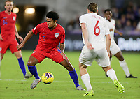 ORLANDO, FL - NOVEMBER 15: Weston McKennie #8 of the United States turns and moves with the ball during a game between Canada and USMNT at Exploria Stadium on November 15, 2019 in Orlando, Florida.