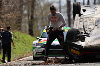 25th April 2021; Zagreb, Croatia; WRC Rally of Croatia, Final stages; Nikolay GRYAZIN and Konstantin ALEKSANDROV, RAF driving VOLKSWAGEN Polo GTI for MOVISPORT lost control and ended on the roof.