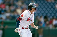 Center fielder Tyler Esplin (25) of the Greenville Drive in a game against the Greensboro Grasshoppers on Thursday, July 22, 2021, at Fluor Field at the West End in Greenville, South Carolina. (Tom Priddy/Four Seam Images)