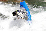 11.07.2014 Sort, Spain. ICF Freestyle World Cup, junior K1, Picture show Max Karlsson (SWE) in acton during semi-finals