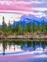 Vermillion Lakes and Mt. Rundle with sunset reflection. Banff National Park, Alberta Canada