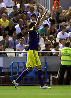 Valencia, Spain. Thursday 19 September 2013<br /> Pictured: Michu of Swansea celebrating his goal making the score 0-2 to his team<br /> Re: UEFA Europa League game against Valencia C.F v Swansea City FC, at the Estadio Mestalla, Spain,