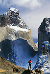 Photographer and Cuernos del Paine, Torres del Paine National Park, Chile