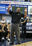 Desert Pines head coach Teral Fair talks to an official in the NIAA 3A state basketball championship game against Cheyenne in Reno, Nev., on Saturday, Feb. 24, 2018. Desert Pines won 48-44 in overtime. Cathleen Allison/Las Vegas Review-Journal
