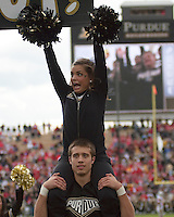 Purdue cheerleader. The Purdue Boilermakers defeated the Ohio State Buckeyes 26-18 at Ross-Ade Stadium, West Lafayette, Indiana on October 17, 2009..
