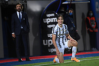 Enrico Chiesa of Juventus FC reacts with Andrea Pirlo coach of Juventus FC behind him during the Serie A football match between FC Crotone and Juventus FC at stadio Ezio Scida in Crotone (Italy), October 17th, 2020. Photo Federico Tardito / Insidefoto