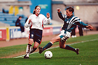 Kelly Smith of England in action in front of a new British record crowd of 4,917 during England Women vs Germany Women, World Cup Qualifying Football at the New Den, Millwall FC, London, Britain on 8th March 1998