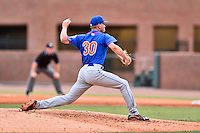 Kingsport Mets starting pitcher Max Wotell (30) delivers a pitch during a game against the Greeneville Astros at Pioneer Park on July 3, 2016 in Greeneville, Tennessee. The Mets defeated the Astros 11-0. (Tony Farlow/Four Seam Images)