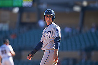 Peoria Javelinas second baseman Luis Urias (9), of the San Diego Padres organization, smiles for the camera during an Arizona Fall League game against the Salt River Rafters on October 16, 2017 at Salt River Fields at Talking Stick in Scottsdale, Arizona.  Peoria defeated Salt River 6-2.  (Zachary Lucy/Four Seam Images)