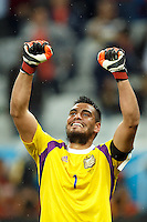 Goalkeeper Sergio Romero of Argentina celebrates at the end of the match