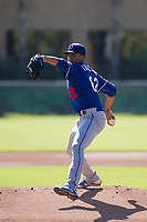 Los Angeles Dodgers pitcher Imani Abdullah (62) delivers a pitch to the plate during an Instructional League game against the Chicago White Sox on September 30, 2017 at Camelback Ranch in Glendale, Arizona. (Zachary Lucy/Four Seam Images)