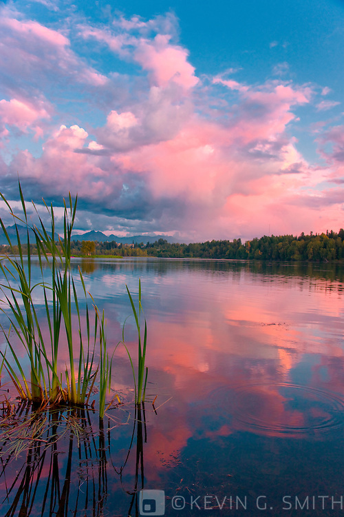Sunset clouds reflected in  Westchester Lagoon, late summer, Tony Knowles Coastal Trail, Anchorage, Southcentral Alaska, USA.