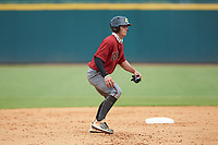 Reece Holdbrock (2) of Hammond School in Mt. Pleasant, SC playing for the Arizona Diamondbacks scout team takes his lead off of second base during the East Coast Pro Showcase at the Hoover Met Complex on August 2, 2020 in Hoover, AL. (Brian Westerholt/Four Seam Images)
