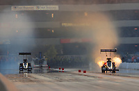 Jul, 9, 2011; Joliet, IL, USA: NHRA top fuel dragster driver Terry McMillen (right) during qualifying for the Route 66 Nationals at Route 66 Raceway. Mandatory Credit: Mark J. Rebilas-