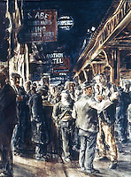 American Painters:  Reginald Marsh--The Bowery, 1930.  Tempera/canvas.  Metropolitan Museum of Art.