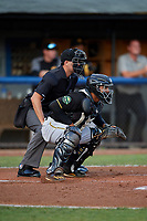 Bristol Pirates catcher Gabriel Brito (52) awaits the pitch in front of home plate umpire Adam Clark during the second game of a doubleheader against the Bluefield Blue Jays on July 25, 2018 at Bowen Field in Bluefield, Virginia.  Bristol defeated Bluefield 5-2.  (Mike Janes/Four Seam Images)