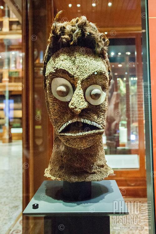 An image of Hawaiian deity Ku at an exhibit for the same, Bishop Museum, Honolulu, O'ahu.