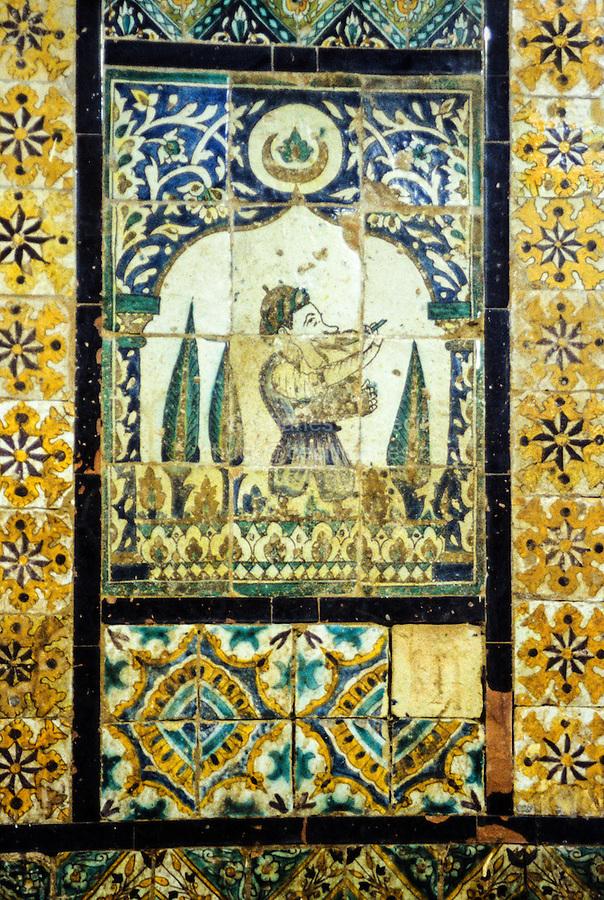 Ceramics, Tunis, Tunisia.  Decorative Wall Panel, Cafe Mnushi, Tunis Medina.  19th. Century.