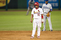 Audry Perez (10) of the Springfield Cardinals takes a lead off of second base during a game against the Tulsa Drillers at Hammons Field on July 19, 2011 in Springfield, Missouri. Tulsa defeated Springfield 17-11. (David Welker / Four Seam Images)