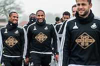 Thursday  21 January 2016<br /> Pictured: Wayne Routledge and Ashley Williams of Swansea <br /> Re: Swansea City Training Session at the Fairwood training ground
