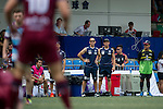 UBB Gavekal (in red) vs Natixis HKFC (in blue stripes) during GFI HKFC Rugby Tens 2016 on 07 April 2016 at Hong Kong Football Club in Hong Kong, China. Photo by Juan Manuel Serrano / Power Sport Images