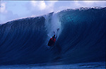 A view from the lineup at Teahupoo during the a boogie board contest for the Tahitian Federation of Surfing.