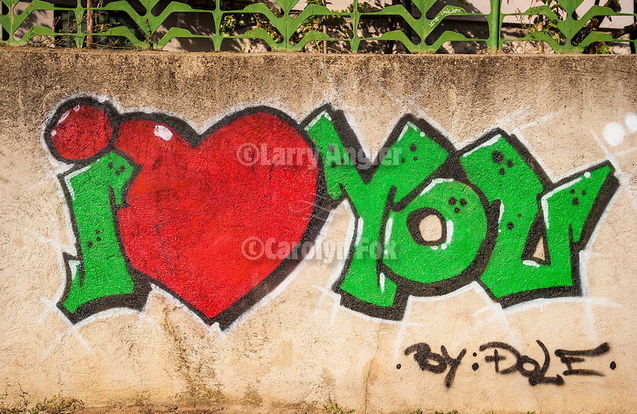 I (Heart) Love You graffiti, Vranje, Serbia