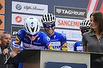 Enric Mas Nicolau (ESP) and Quick-Step Floors team at sign on before the start of the 99th edition of Milan-Turin 2018, running 200km from Magenta Milan to Superga Basilica Turin, Italy. 10th October 2018.<br /> Picture: Eoin Clarke | Cyclefile<br /> <br /> <br /> All photos usage must carry mandatory copyright credit (© Cyclefile | Eoin Clarke)