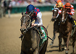 LOUISVILLE, KY - MAY 06: Carina Mia #5, ridden by Julien R. Leparoux, wins the Eight Belles Stakes at Churchill Downs on May 06, 2016 in Louisville, Kentucky.(Photo by Alex Evers/Eclipse Sportswire/Getty Images)