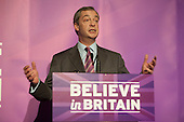 Nigel Farage addressing press and supporters at the UKIP launch of its General Election campaign in the Movie Starr cinema, Canvey Island, South Essex.