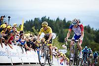 Julian Alaphilippe (FRA/Deceuninck Quick Step) and Thibaut Pinot (FRA/Groupama FDJ) side by side crossing the finish line. <br /> <br /> <br /> Stage 6: Mulhouse to La Planche des Belles Filles (157km)<br /> 106th Tour de France 2019 (2.UWT)<br /> <br /> ©kramon