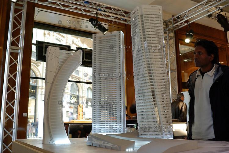 """milano, modellini dei grattacieli per il futuro quartiere citylife in zona fiera --- milan, small scale models of the skyscrapers for the  new """"Citylife"""" district currently under construction on the """"fiera"""" area"""