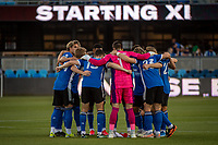 SAN JOSE, CA - MAY 12: San Jose Earthquakes players huddle before a game between San Jose Earthquakes and Seattle Sounders FC at PayPal Park on May 12, 2021 in San Jose, California.