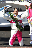 30th May 2021, Indianapolis, Indiana, USA; NTT Indy Car Series driver Helio Castroneves celebrates at the yard of bricks after winning the 105th running of the Indianapolis 500 on May 30, 2021 at the Indianapolis Motor Speedway in Indianapolis, Indiana.