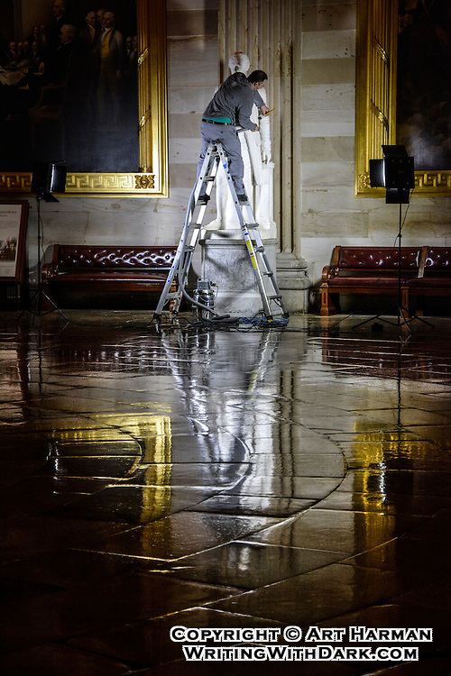 """""""Hamilton's Valet"""" by Art Harman. Late at night the staff of the U.S. Capitol work to keep America's treasures and history clean and ready for visitors."""