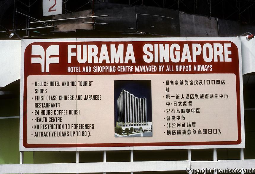 Singapore: Furama Singapore--Sign proclaiming new hotel, shopping complex. Photo '83.