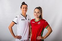L-R Alicia Powe and Emma Beynon<br />Swansea City FC kit photo shoot at the Liberty Stadium, Wales, UK. Wednesday 03 May 2017