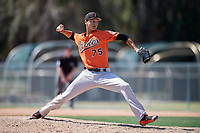 Baltimore Orioles pitcher Ruben Garcia (75) delivers a pitch during a minor league Spring Training game against the Tampa Bay Rays on March 29, 2017 at the Buck O'Neil Baseball Complex in Sarasota, Florida.  (Mike Janes/Four Seam Images)