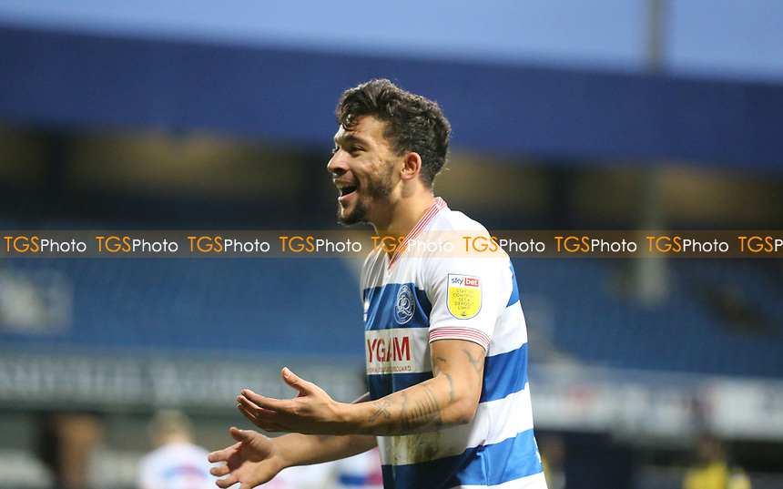 Macauley Bonne of Queens Park Rangers complains to the officials during Queens Park Rangers vs Watford, Sky Bet EFL Championship Football at The Kiyan Prince Foundation Stadium on 21st November 2020